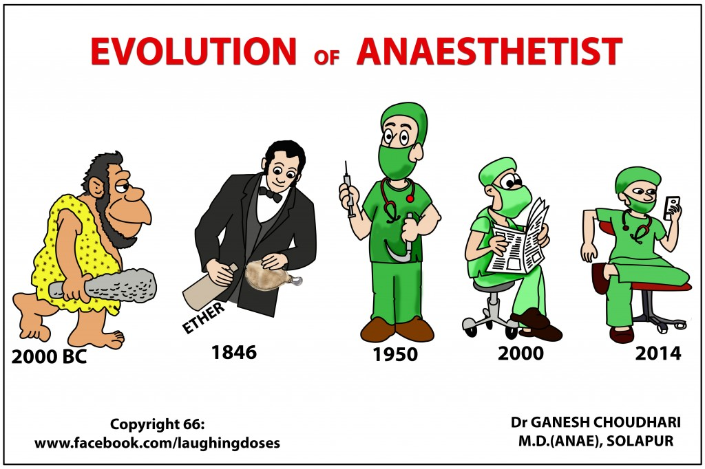 evolution of a anaesthisit medical cartoon