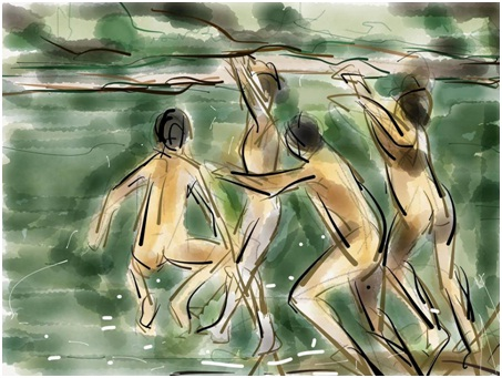 kerala boys jumping into temple pond water abstract art