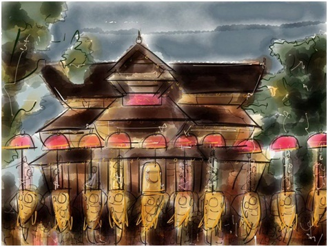 Thrissur pooram abstract poster art kerala tourism